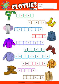 Winter Clothes Missing Letters in Words ESL Vocabulary Worksheet