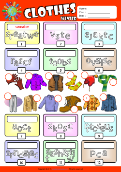 Winter Clothes Unscramble Words ESL Vocabulary Worksheet